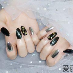 黑色尖形猫眼魔镜喜欢的来合川财富广场爱丽丝美甲店找我吧美甲图片