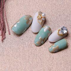 圆形手绘绿色金色白色花朵钻金属饰品日式美甲图片