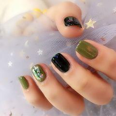 绿色方形晕染贝壳片日式美甲图片