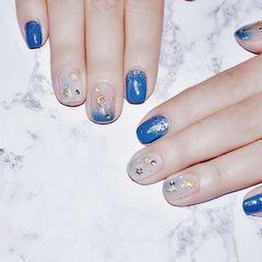 蓝色方圆形日式星月美甲图片