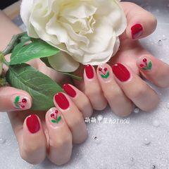 红色圆形钻可爱樱桃手绘美甲图片