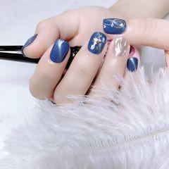 蓝色方圆形猫眼贝壳片水波纹铆钉美甲图片