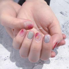 方圆形日式粉色银色晕染水波纹金箔美甲图片