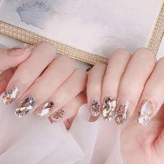 圆形钻金箔贝壳片日式银色美甲图片
