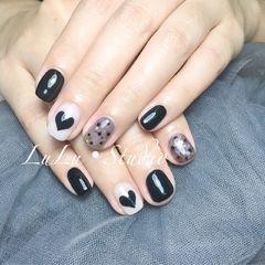方圆形日式黑色美甲图片