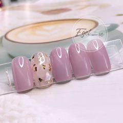 方圆形猫眼金箔贝壳片新娘粉色美甲图片