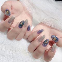 尖形猫眼银色蓝色贝壳片金箔魔镜粉美甲图片