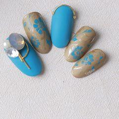 圆形手绘蓝色金色美甲图片