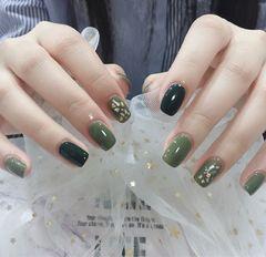 方圆形日式绿色贝壳片金箔美甲图片