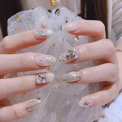 银色圆形水波纹新娘美甲图片