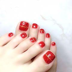 红色夏天脚金银线显白简约新娘美甲图片