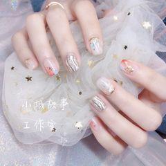 银色裸色方圆形水波纹新娘美甲图片