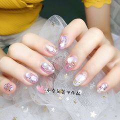 圆形贝壳片珍珠紫色钻日式金箔美甲图片