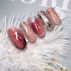裸色红色圆形夏天新娘转印纸晕染贝壳片美甲图片