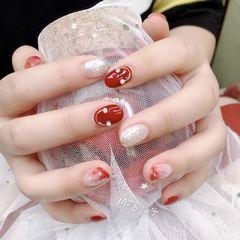 红色晕染圆形银色钻新娘美甲图片