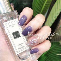 金箔显白春天葡萄紫美甲图片