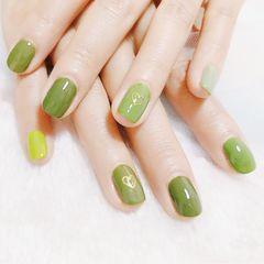绿色方圆形跳色简约美甲图片