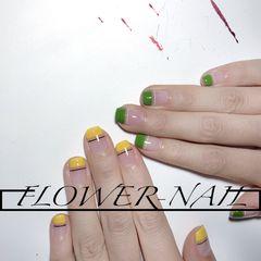 黄色绿色方圆形简约夏天短指甲平法式美甲图片