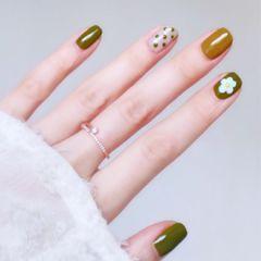 绿色夏天波点方圆形黄色手绘花朵美甲图片