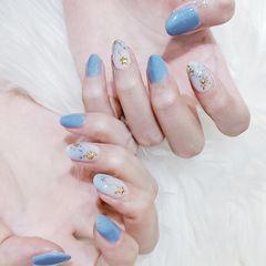 圆形蓝色白色晕染金属饰品金箔夏天美甲图片
