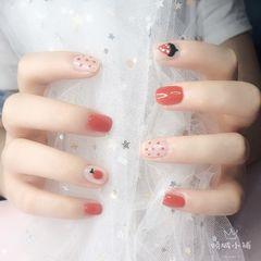 波点南瓜色手绘方圆形水果草莓夏天❥南瓜色搭配手绘🍓🍊🌺和波点,同样是可爱俏皮的款式,很嫩很显白,【来来来,和闺蜜朋友约了一起来美甲吧】美甲图片
