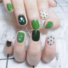 绿色圆形夏天贝壳片波点这个夏天最火的颜色大概是绿色系了吧👻👻美甲图片