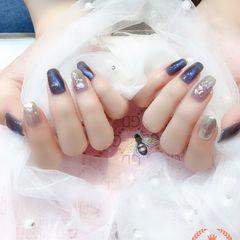 方圆形蓝色银色贝壳片金箔猫眼美甲图片