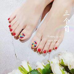 红色夏天脚手绘几何美甲图片