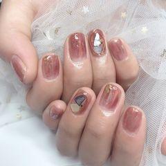 裸色方圆形夏天短指甲晕染简约新娘贝壳片美甲图片