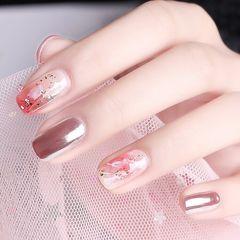 日式粉色方圆形玫瑰金晕染贝壳片金箔新娘美甲图片