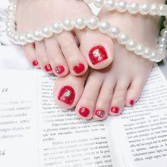 红色简约脚部新娘显白美甲图片