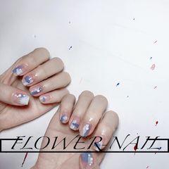 蓝色方圆形夏天简约短指甲灰色珍珠钻晕染美甲图片
