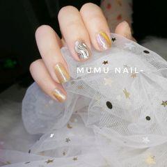 黄色夏天水波纹方形猫眼美甲图片