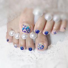 蓝色方圆形金箔贝壳片夏天脚猫眼美甲图片