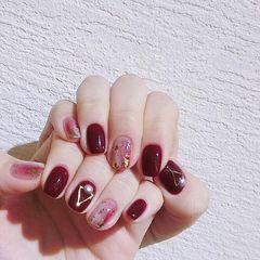 红色银色方圆形金箔简约短指甲晕染新娘美甲图片