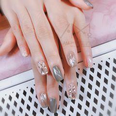 水波纹贝壳片猫眼镜面钻方圆形灰色美甲图片