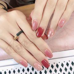 红色贝壳片方圆形粉色美甲图片