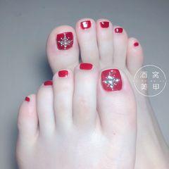 脚夏天红色钻显白新娘美甲图片
