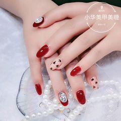 红色圆形简约裸色手绘豹纹钻美甲图片