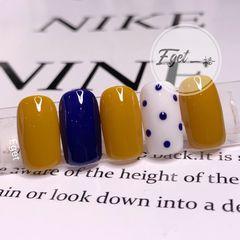 黄色蓝色方圆形夏天波点简约短指甲美甲图片