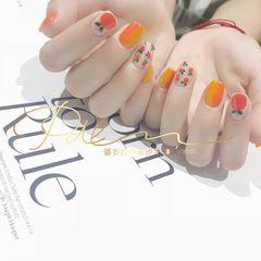 黄色方形手绘橙色竖形渐变水果夏天美甲图片