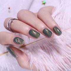 金箔贝壳片猫眼方圆形绿色美甲图片