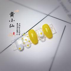 圆形黄色白色手绘鸡蛋波点夏天可爱美甲图片