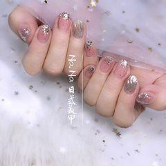 银色圆形简约短指甲夏天仙女水波纹美甲图片