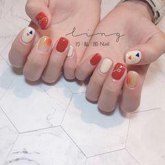 橙色方形夏天简约晕染美甲图片