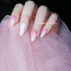 新娘渐变粉色美甲图片