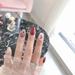 红色方圆形日式波点花朵珍珠美甲图片