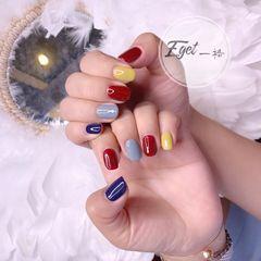 黄色蓝色红色方圆形夏天跳色可爱美甲图片