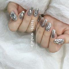 圆形日式仙女透粉施华洛世奇++钻魔镜美甲图片