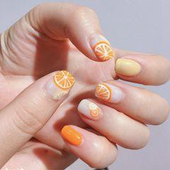 橙色黄色方形水果夏天美甲图片